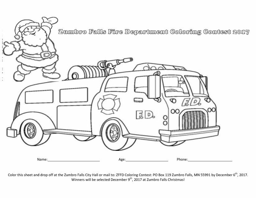 Zumbro Falls Fire Department Coloring Contest 2017